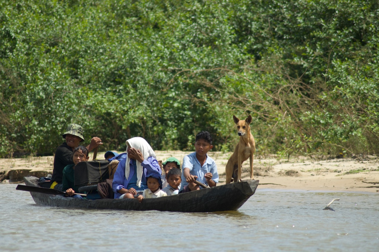A Makushi family in Guyana's rainforest commutes in a dug-out canoe from their home to their fishing camp, where they will stay for a few weeks. Photo by Erica Gies.