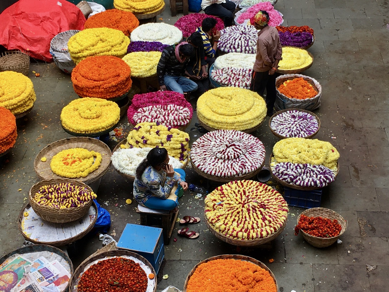 Flower market, Benagluru, Karnataka, India. Photo by Erica Gies.