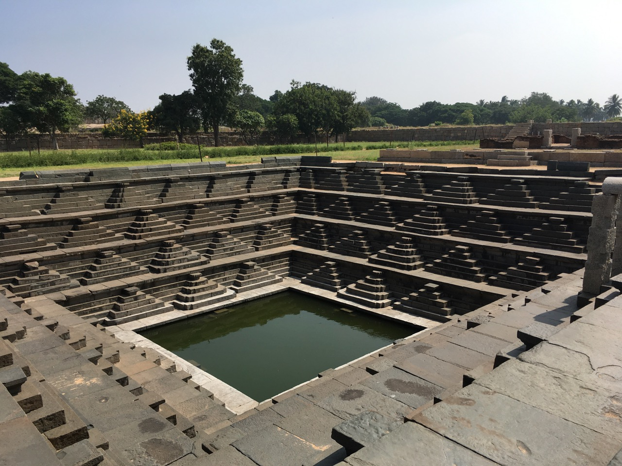 These stepped ponds are part of life in South India, where they supply water to temples and communities and recharge groundwater. Hampi, Karnataka. Photo by Erica Gies.
