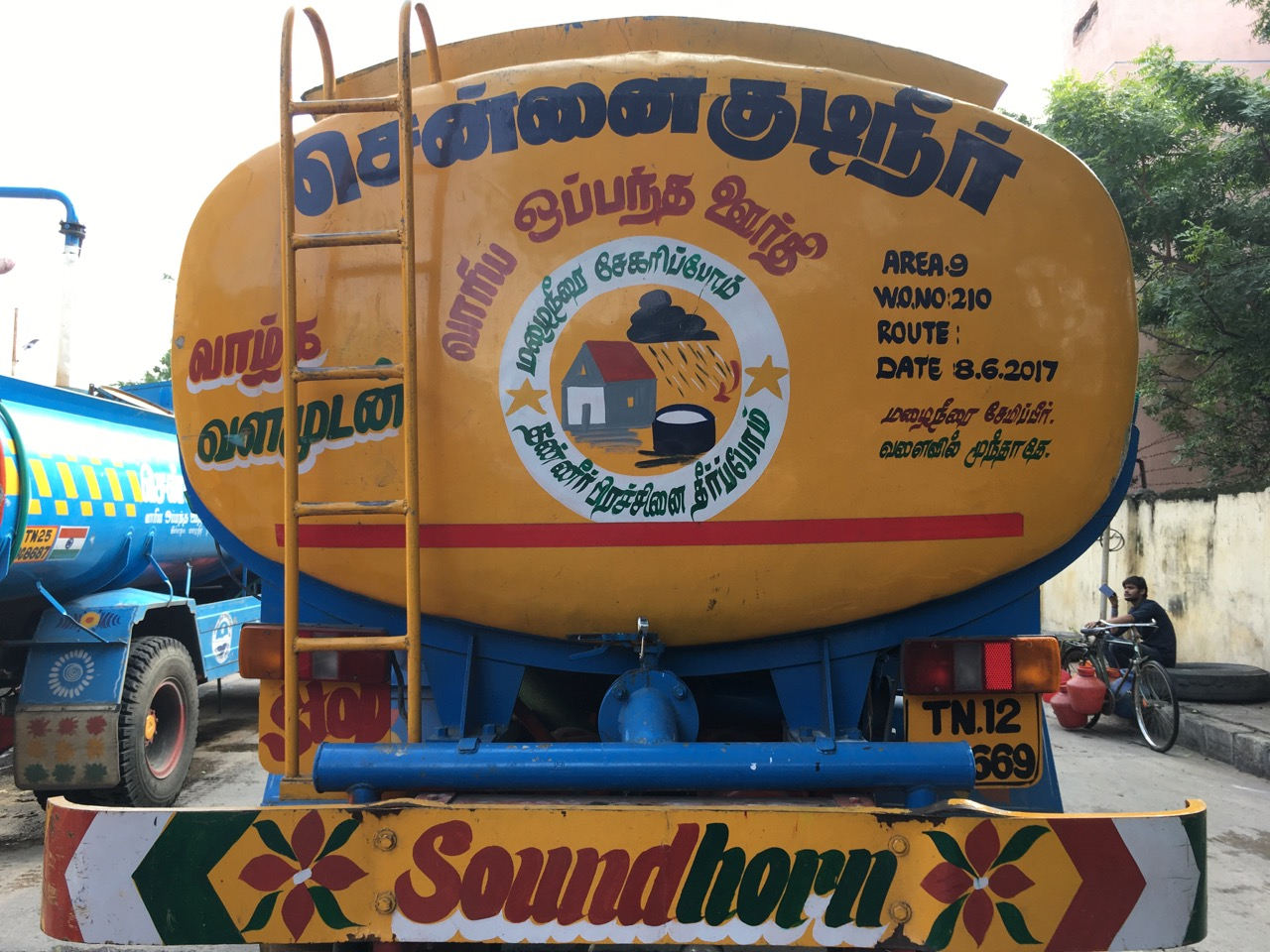 In Chennai, India, water trucks deliver water to people unconnected to city water and to connected people when city water runs dry. This is becoming a common practices in many places around the world. Photo by Erica Gies.