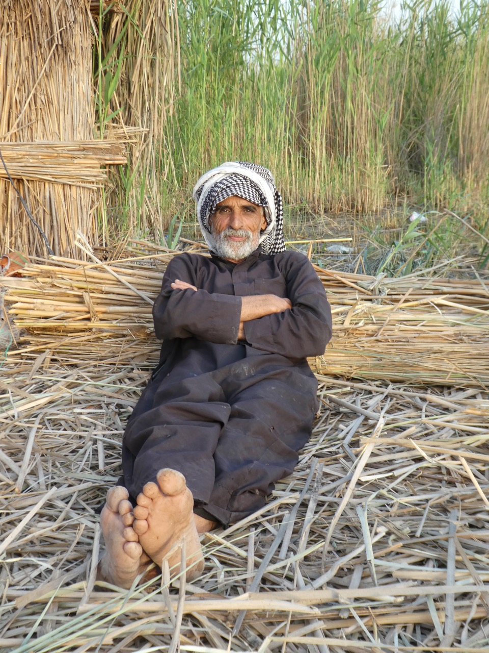 Hashim drove and poled our boat through the Mesopotamian marshes in Chibayish, Iraq. Here, he rests on an island made of Phragmites reeds over many generations. People in this area live on the water much as the ancient Sumerians did 5,000 years ago. Photo by Erica Gies.